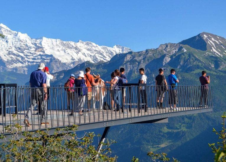 Harder Kulm Viewpoint Bridge on 3-Day Jungfrau Travel Pass on Jungfrau Railway