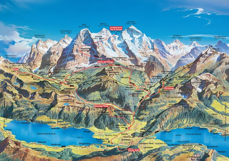 Train and Cablecar Map for 3-Day Jungfrau Travel Pass on Jungfrau Railway