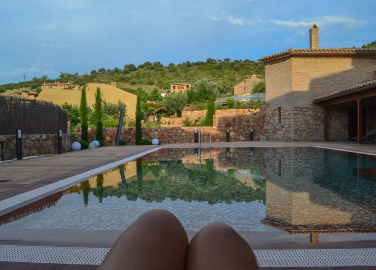 Swimming Pool at Hotel Villa Alquezar Huesca, Northern Spain Taragon