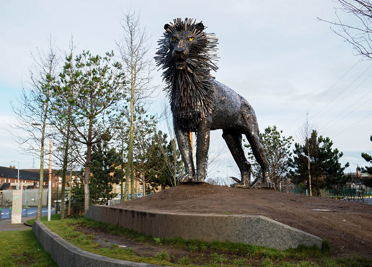 Aslan the Lion Statue in CS Lewis Square Belfast Northern Ireland
