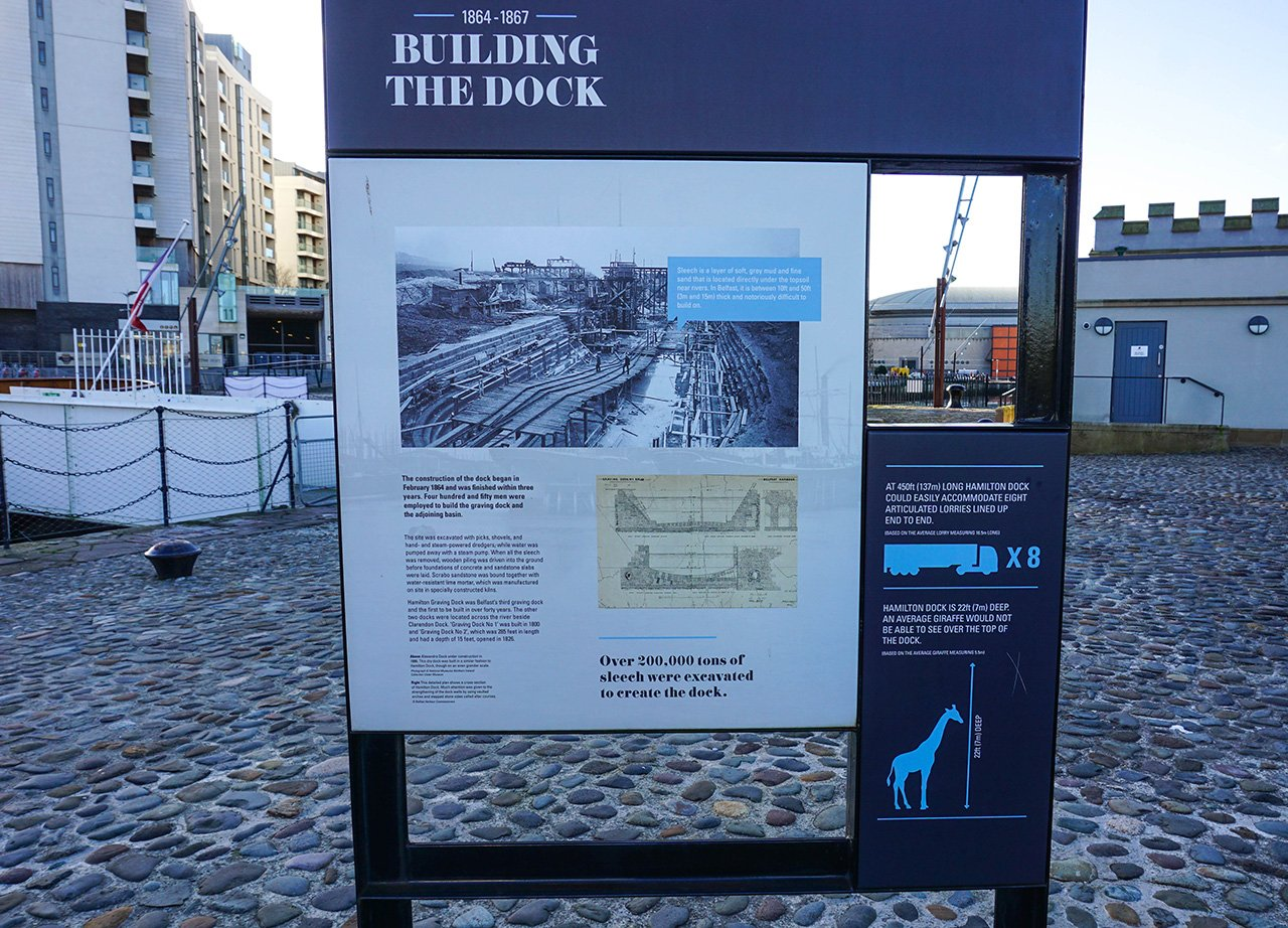 Building the Docks Tourist Signposts at Belfast Titanic Quarter in Northern Ireland