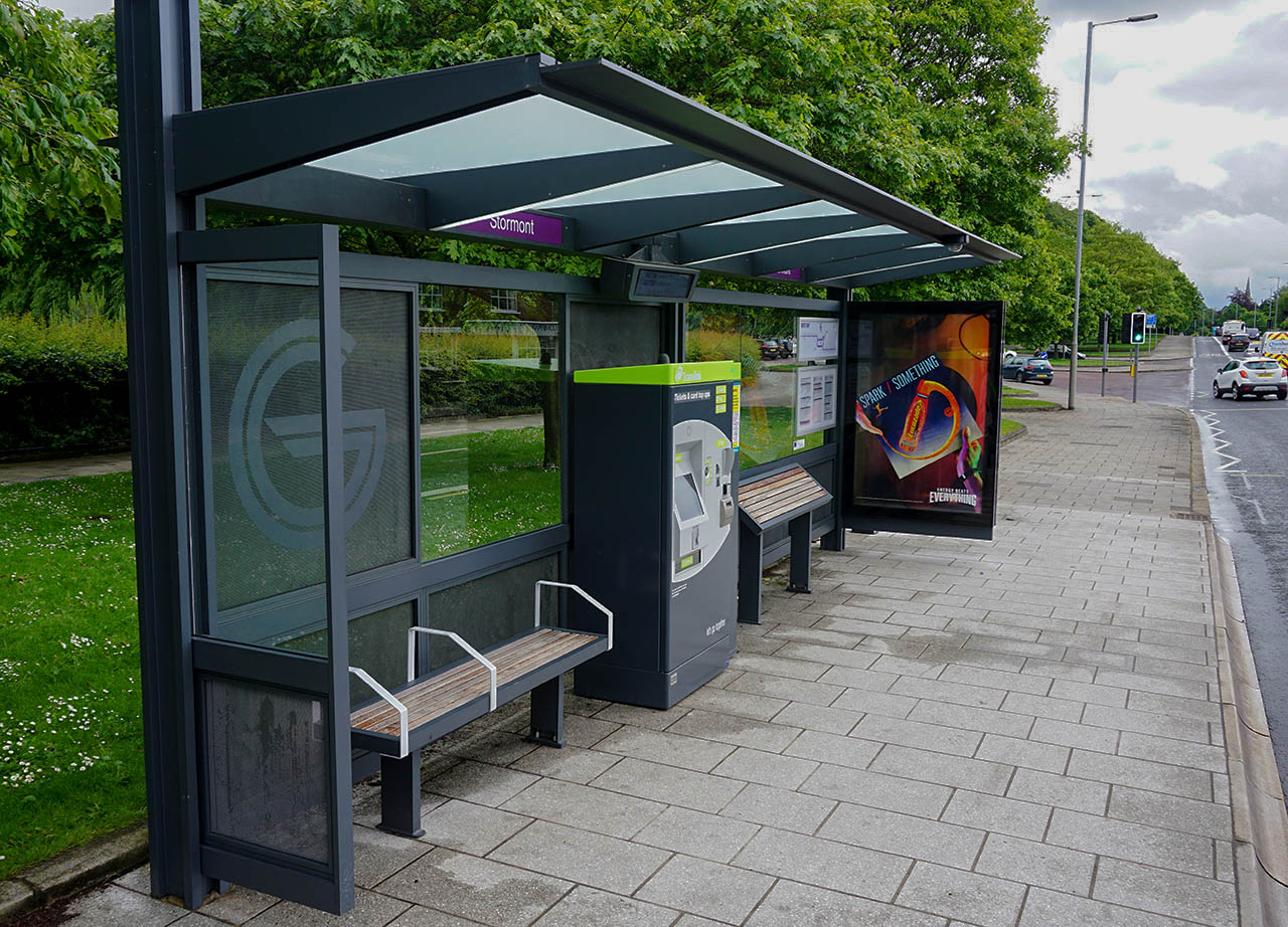 Glider Bus Stop for Stormont Belfast Estate Northern Ireland
