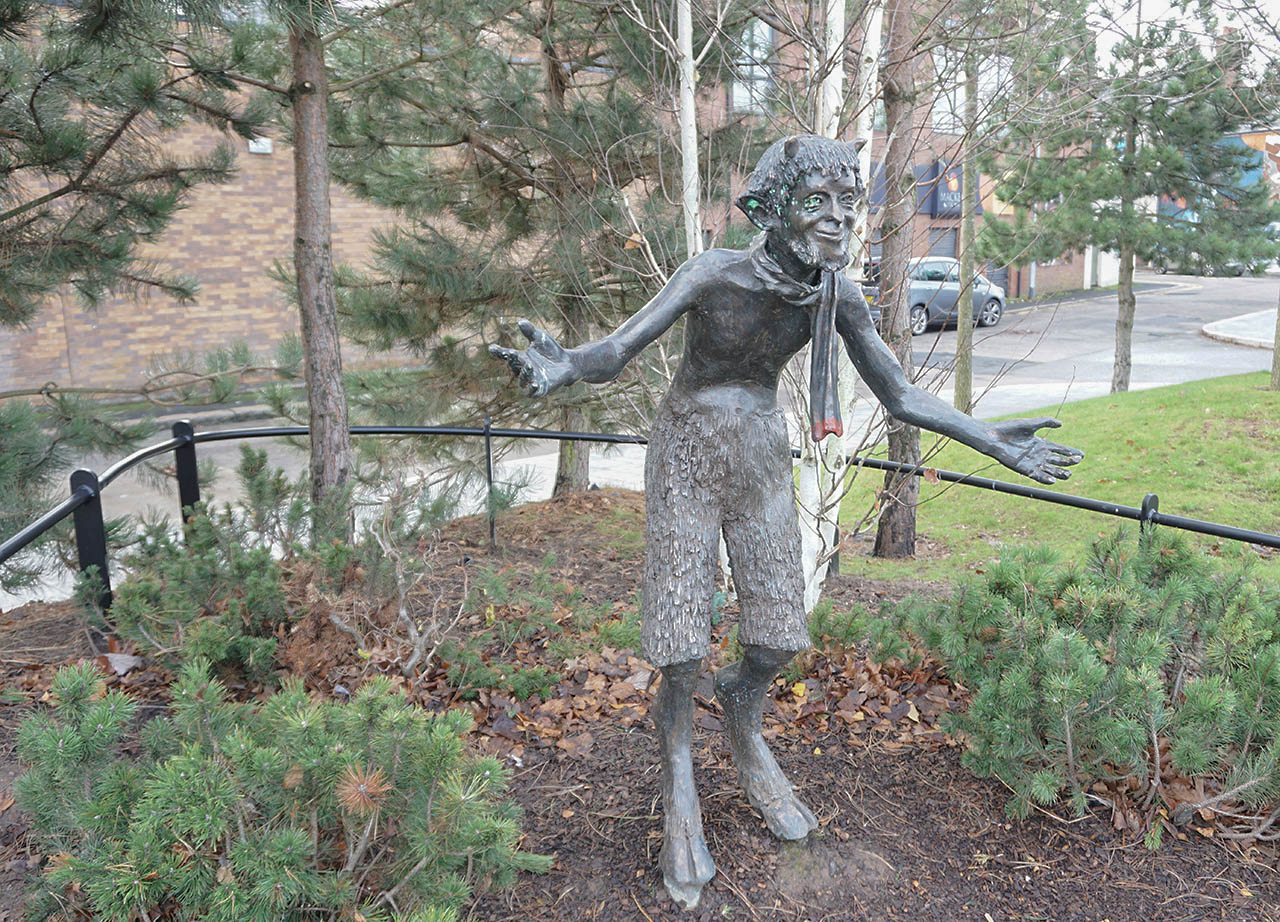 Mr Tumnus the Faun of CS Lewis Square in Belfast Northern Ireland