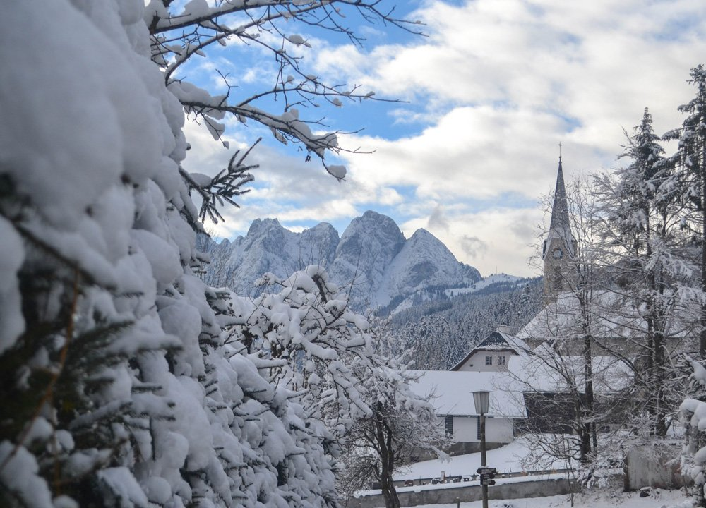 Snowy Mountains in Austria, Winter Road Trip in East Central Europe
