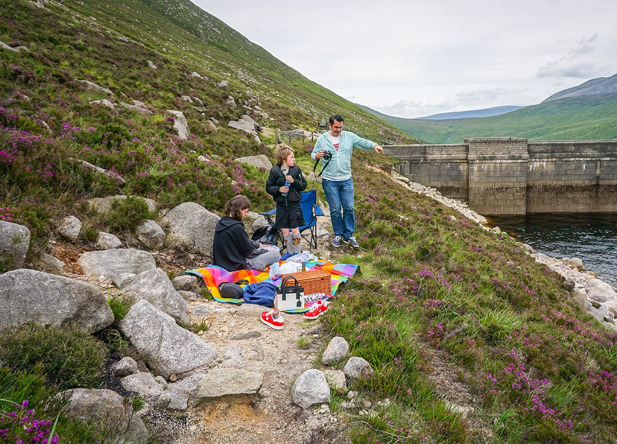 Picnic on the Path at Ben Crom Reservoir in the Mourne Mountains