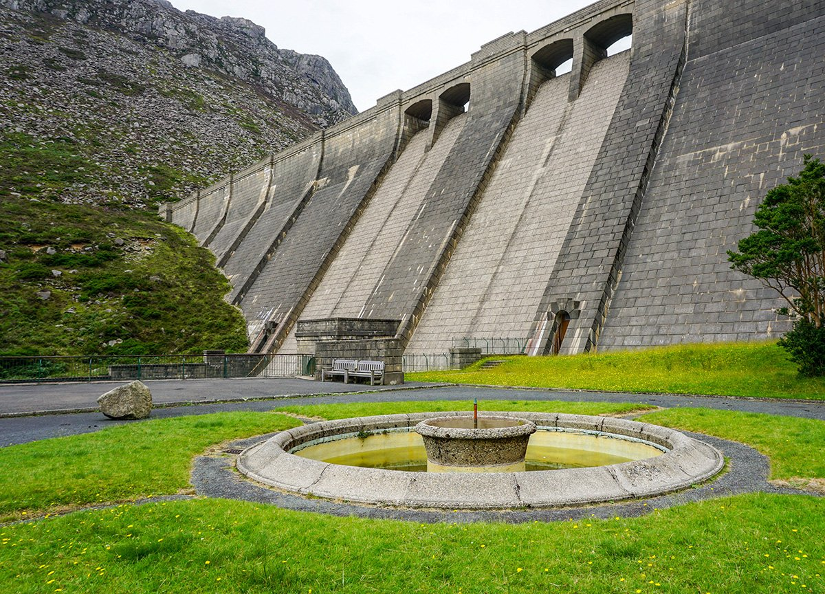 The Dam Wall at Ben Crom Reservoir in the Mourne Mountains