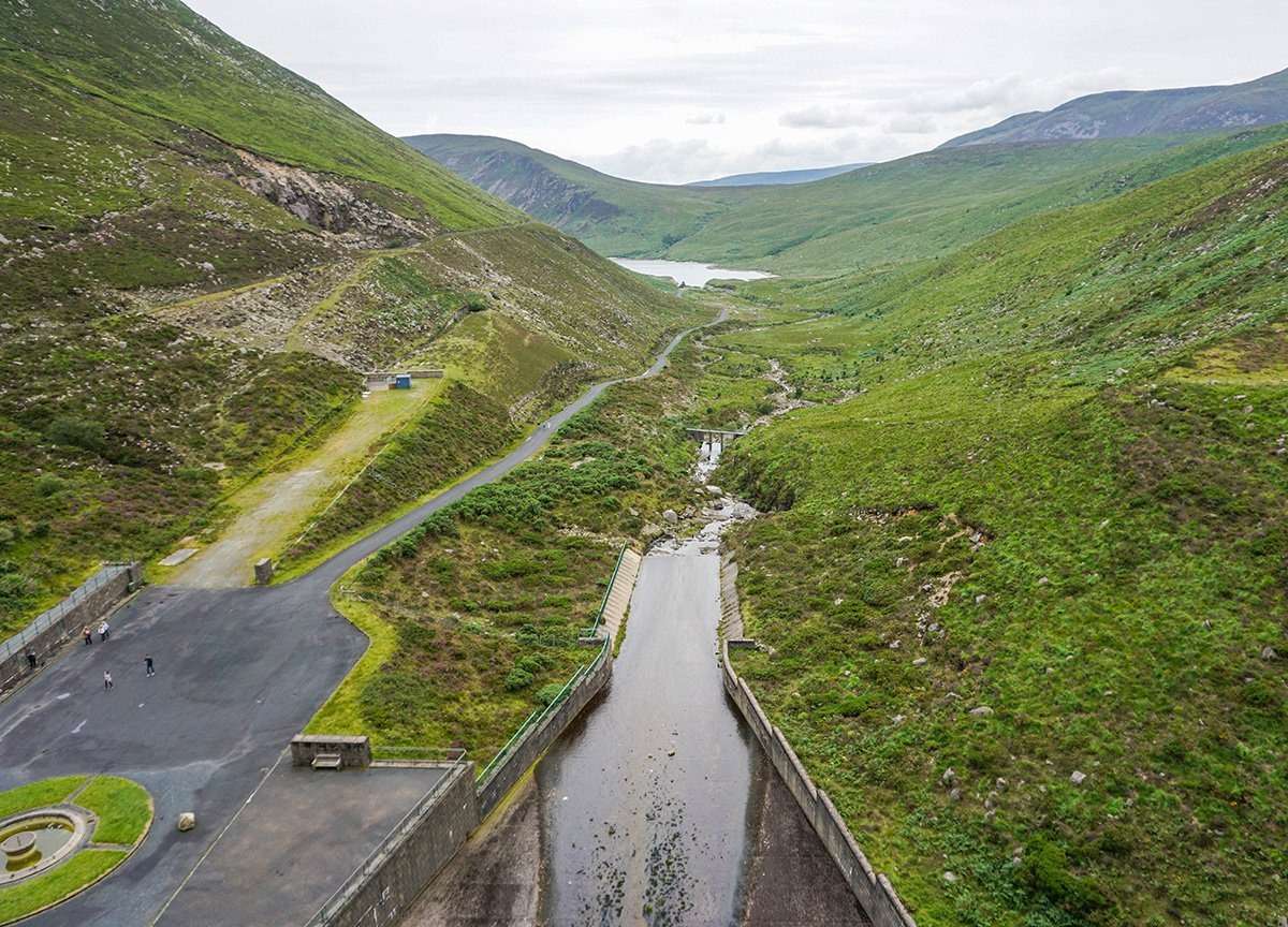 Views of Silent Valley from Ben Crom Reservoir in the Mourne Mountains