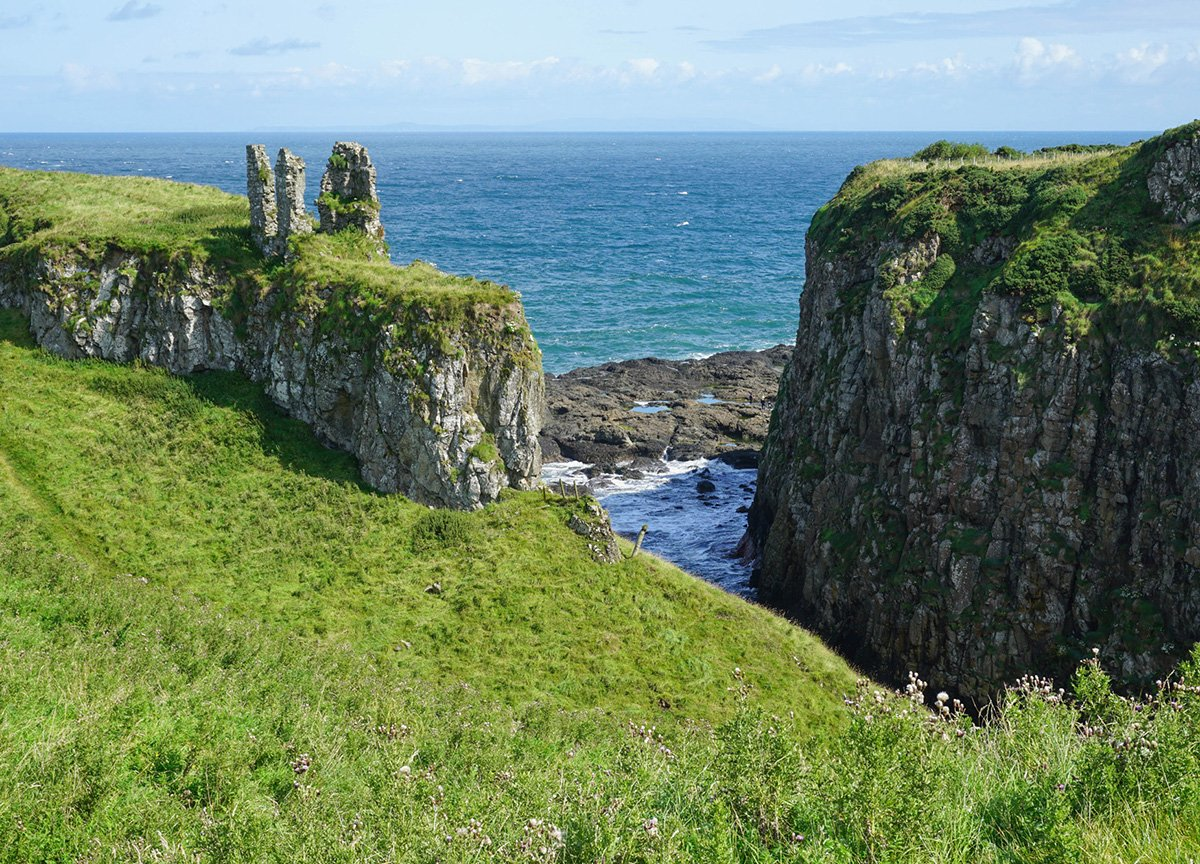 Dunseverick Castle on Antrim's Causeway Coast in Northern Ireland