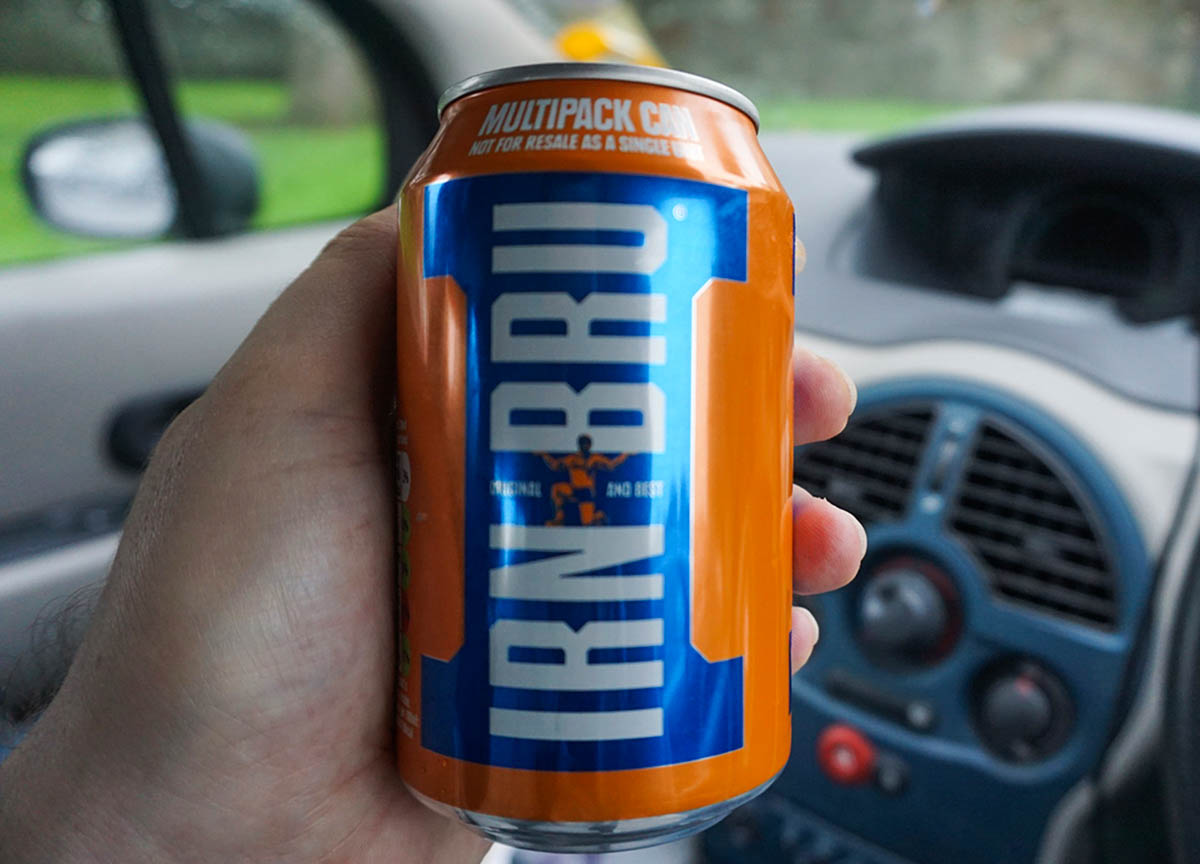 Can of Irn Bru Scottish Fizzy Drink. Traditional Scottish Foods