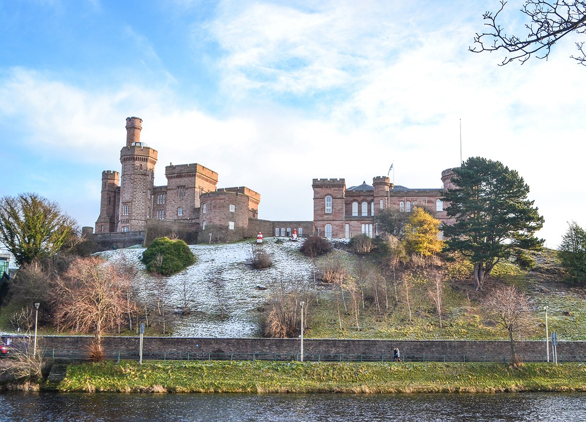 Inverness Castle next to the River Ness in Scotland Highlands