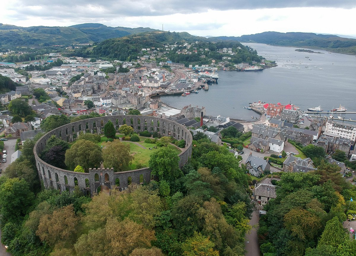 Oban-Tower-Views-over-Harbour. Places to Visit in Scotland