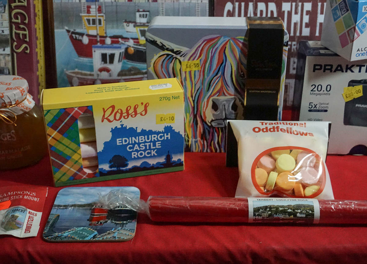 Traditional Scottish Sweets, Rocks and Candies at Tourist Shop in Tarbert Scotland