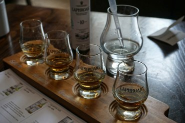 Whisky Tasting Set at Laphroaig Distillery Islay. things to do in scotland.