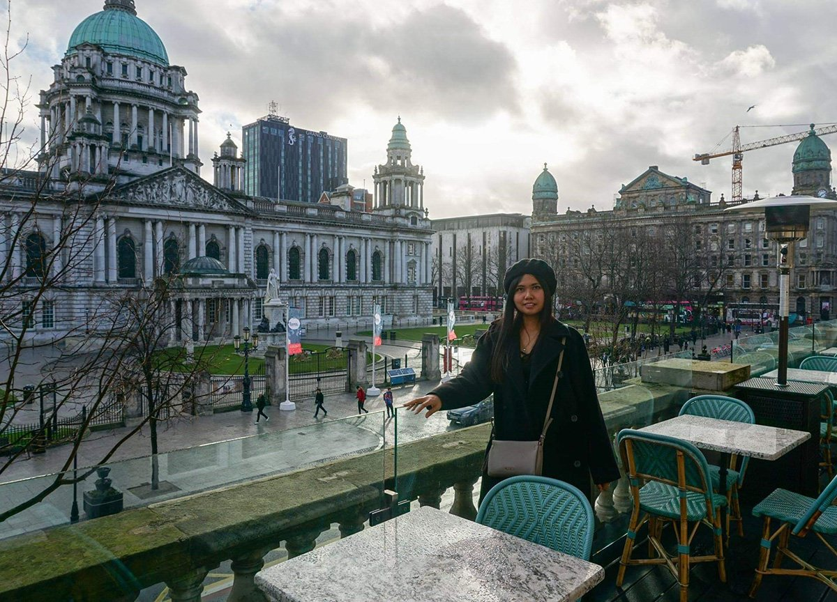 Cafe Parisien views over City Hall in Belfast Northern Ireland
