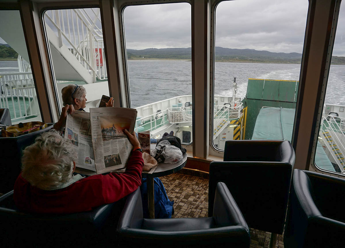 Views from Back of Boat of Islay Ferry from Kennacraig to Port Ellen in Scotland
