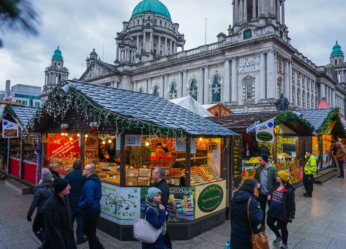 Belfast Christmas market City Hall Northern Ireland UK