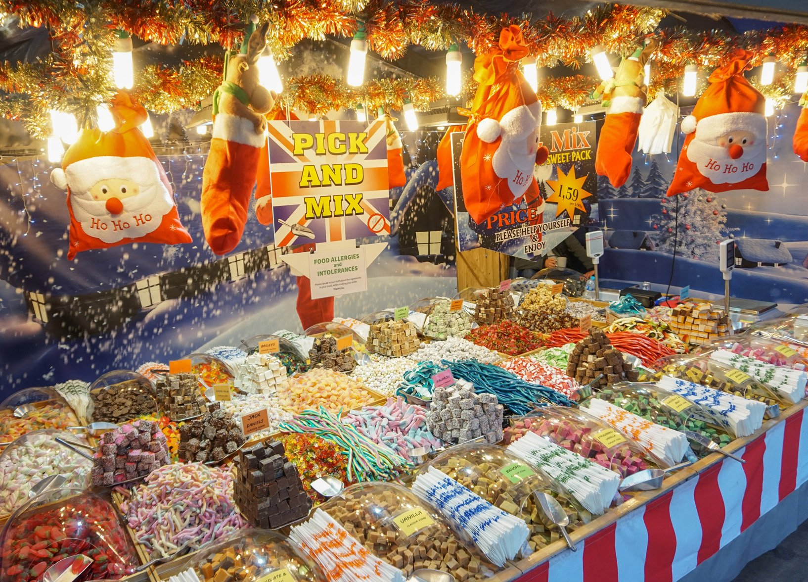 Sweets Stalls Selling Candy at the Belfast Christmas Market