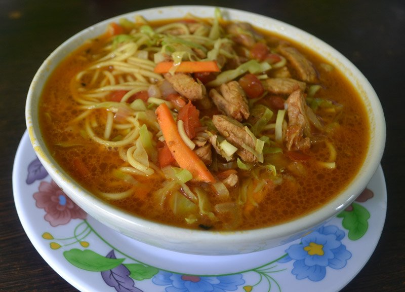 Traditional Thukpa Noodle Soup Eating in the Himalayas