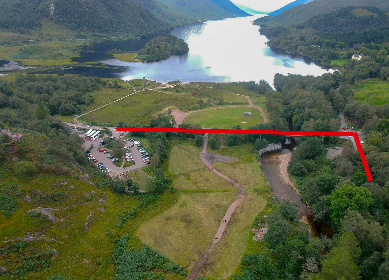 Map-to-Glenfinnan-Viaduct-from-Visitor-Centre-Car-Park.