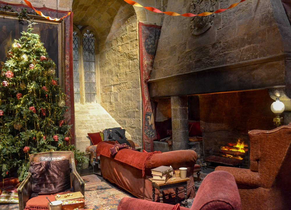 Gryffindor common room at Christmas. Harry Potter Studios in London