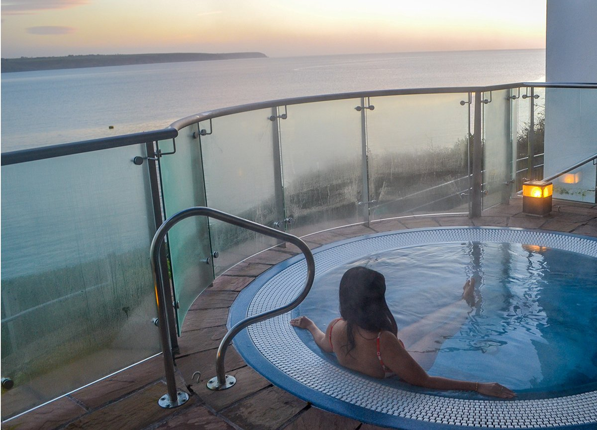 Outdoor Jacuzzi at Cliff House Hotel Ardmore Waterford Ireland