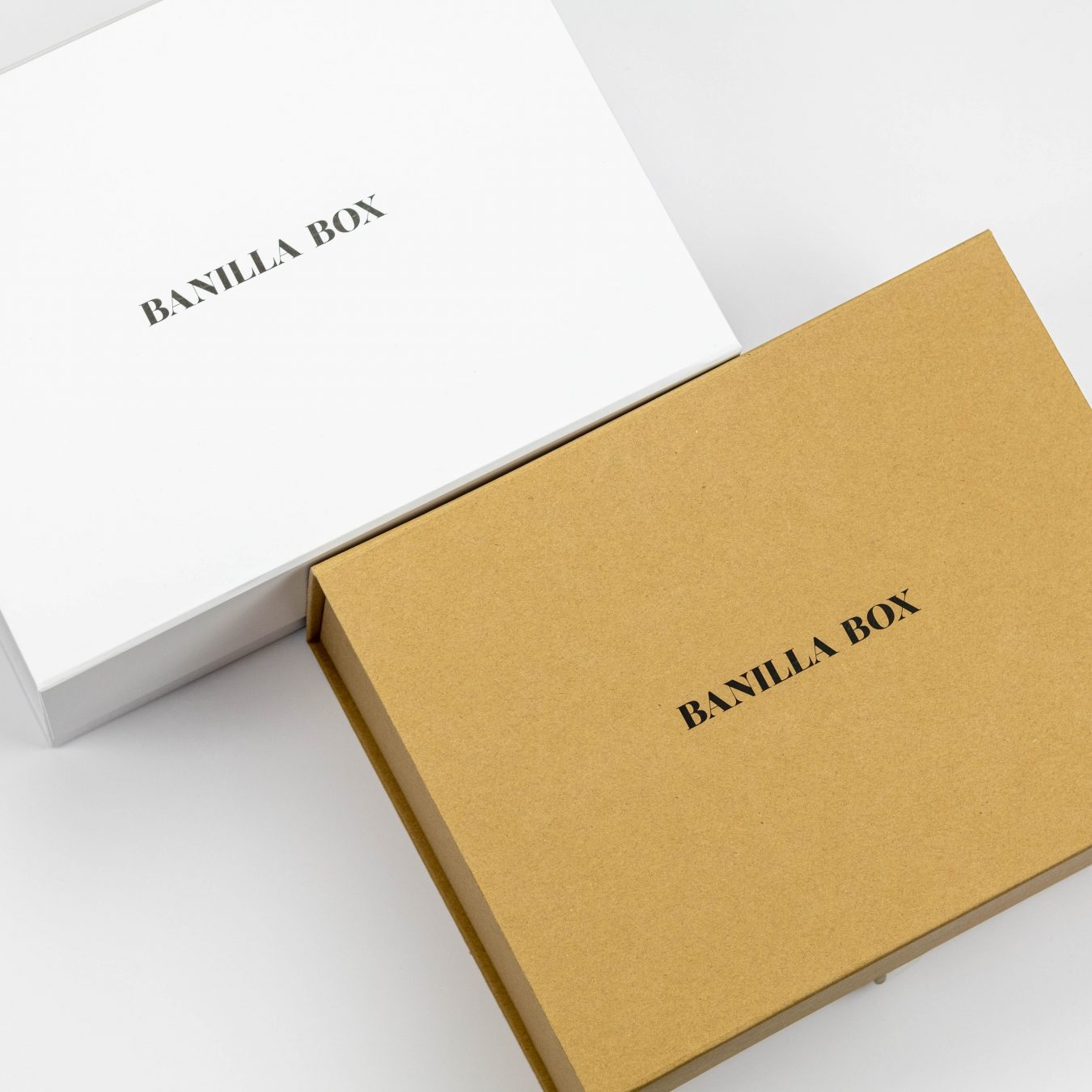 Banilla Box White and Kraft keepsake boxes