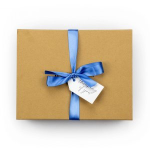 Banilla Box with Blue ribbon and swing tag saying thinking of you