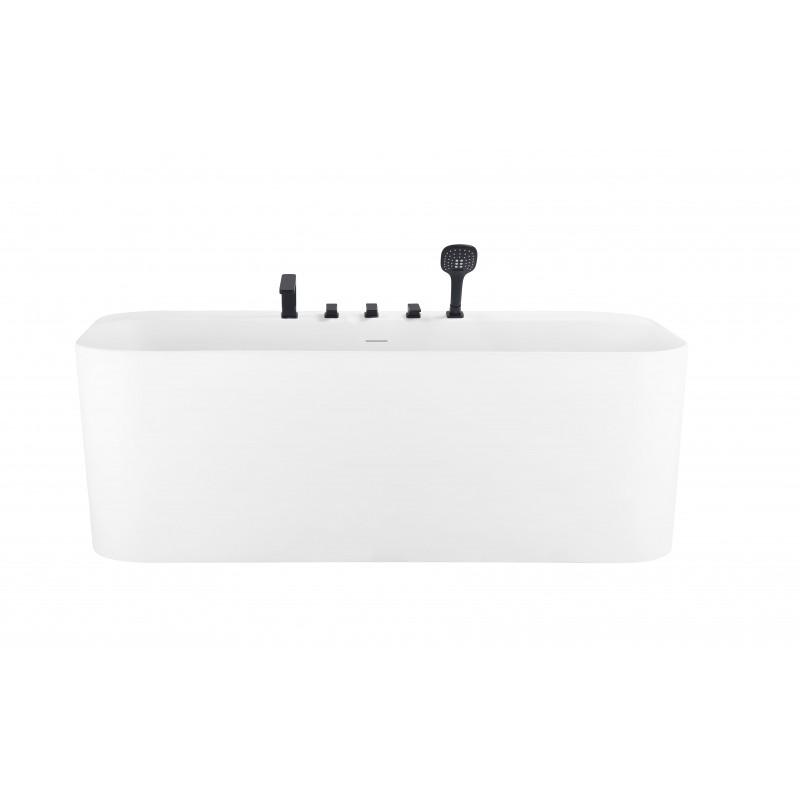 banio baignoire murale en acrylique blanc mat mora avec robinetterie integree noir mat 170x80cm