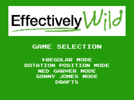 Effectively Wild video game - menu
