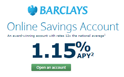 Barclays Online Saings Account 1.15% APY