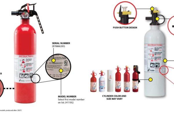 Kidde fire extinguisher recall, photo of affected extinguishers.