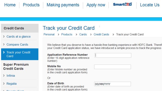 hdfc credit card status