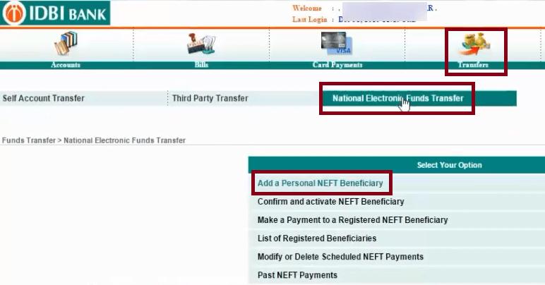 transfer tab idbi
