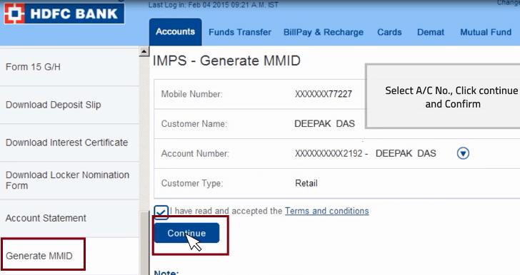 generate mmid hdfc
