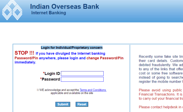 Indian Overseas Bank net banking login