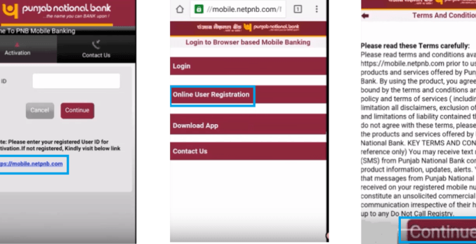 online registration for punjab national mobile banking
