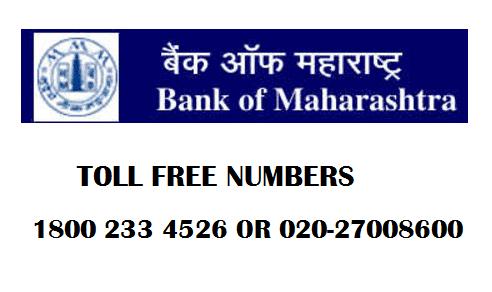 bank of maharashtra toll free numbers