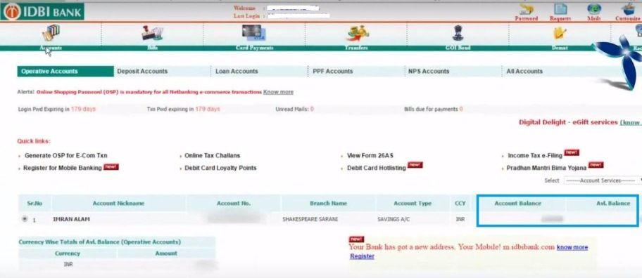 check idbi account balance online