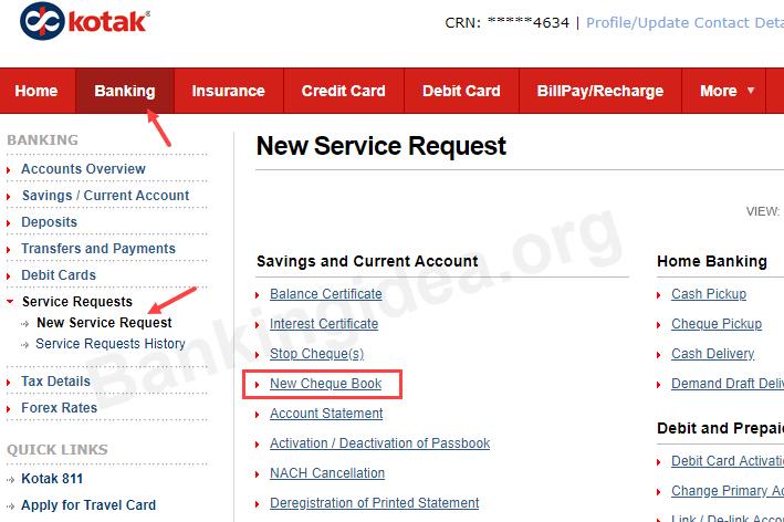 Request Kotak Mahindra Bank Cheque Book Online 5 Methods Bankingidea Org