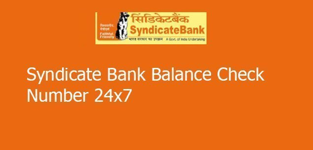 Syndicate bank balance check number