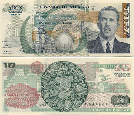 Banknotescom  Mexico 10 Nuevos Pesos 1992  Mexican Bank Notes Paper Money World Currency