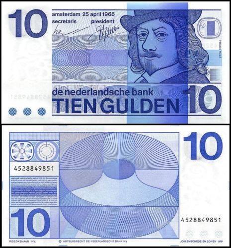 Netherlands 10 Gulden Banknote, 1968, P-91b, UNC