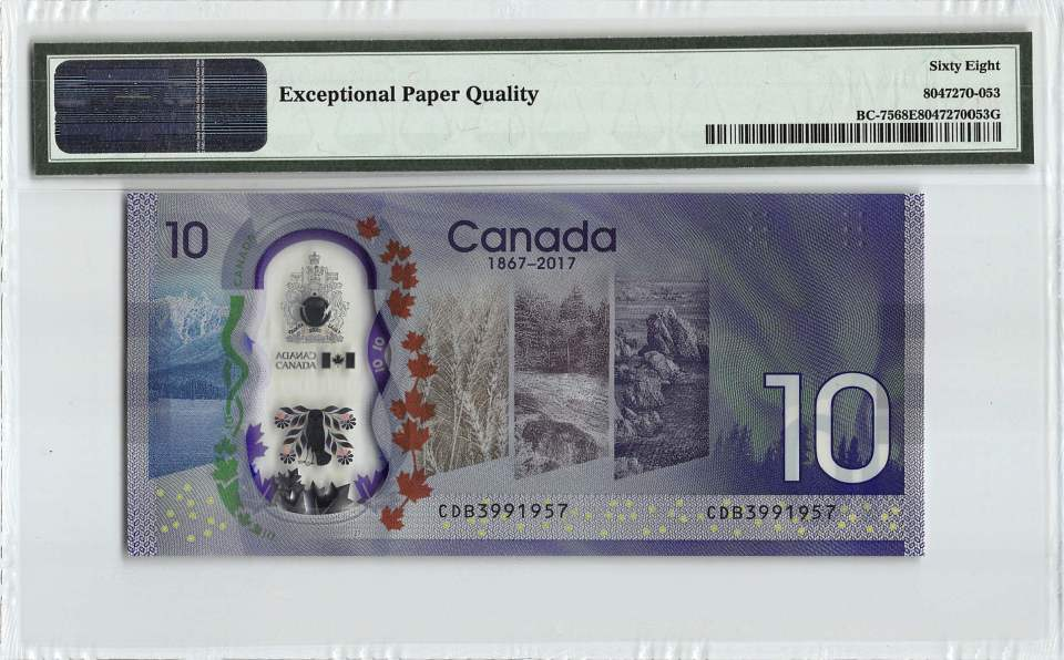 Reverse of graded Canada $10 Banknote