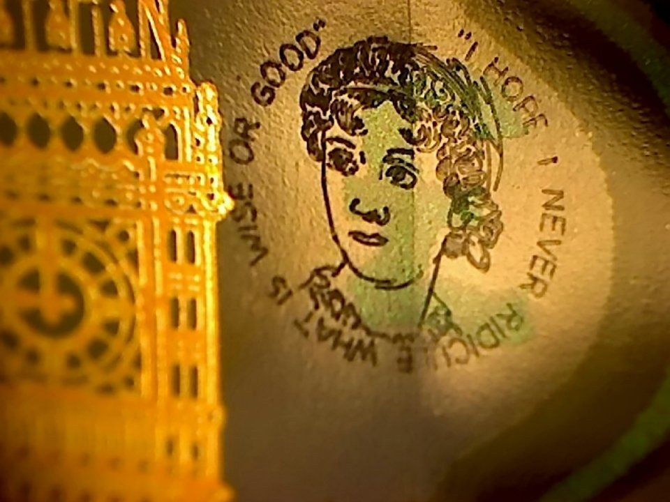 £5 note with jane austen engraved