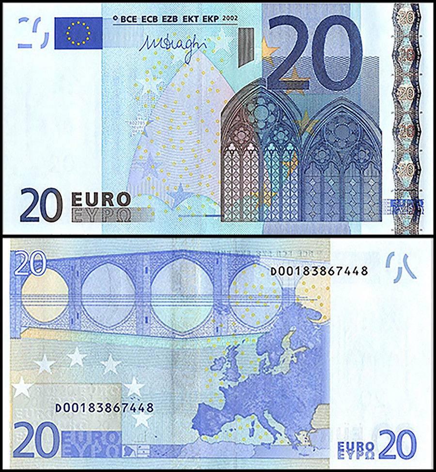 European Union (Estonia) 20 Euro Banknote, 2002, P-16d, UNC, Prefix-D
