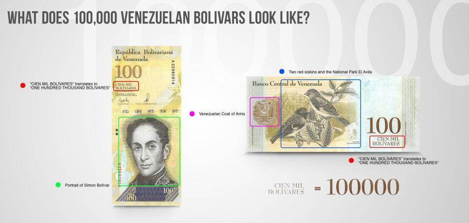 what does 100,000 Venezuelan bolivars look like?