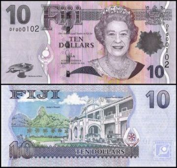 Fiji 10 dollars banknote featuring Queen Elizabeth II on the front and the Grand Pacific Hotel in Sulva on the reverse