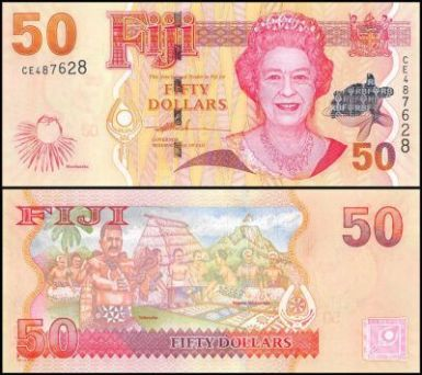 Fiji 50 dollars banknote featuring Queen Elizabeth II on the obverse and 9 indigenous Fijians on the reverse