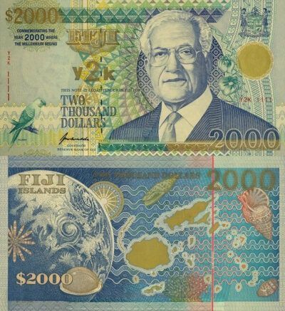 Fijian legal tender note to commemorate the new millennium.