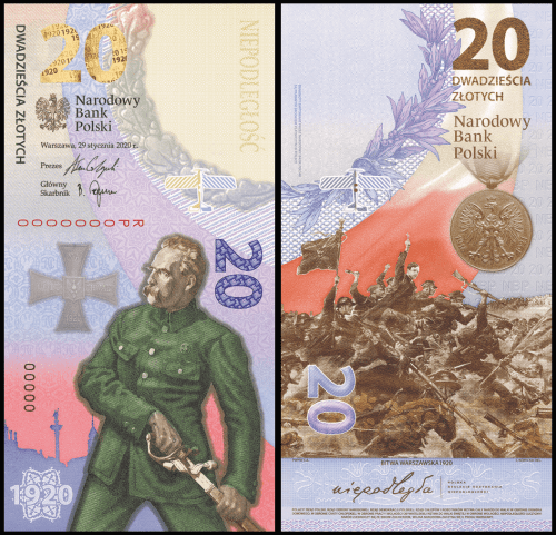 Poland 20 Zloty, 2020 being released. Colored in purple, red and yellow. Commemorating the Battle of Warsaw 1920.
